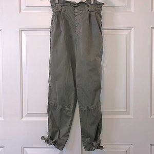 Zara Basic Denim Olive Green Cargo Pants